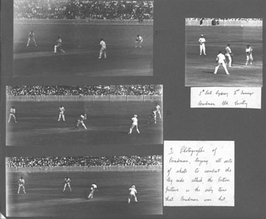 Photographs of Bradman batting to a packed Leg side field